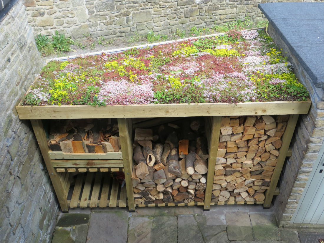Diy Sedum Log Store Roof Green Roofs Naturally Otley
